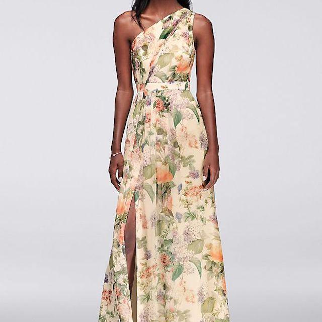 David's Bridal Long One Shoulder Printed Chiffon Dress, $139.95