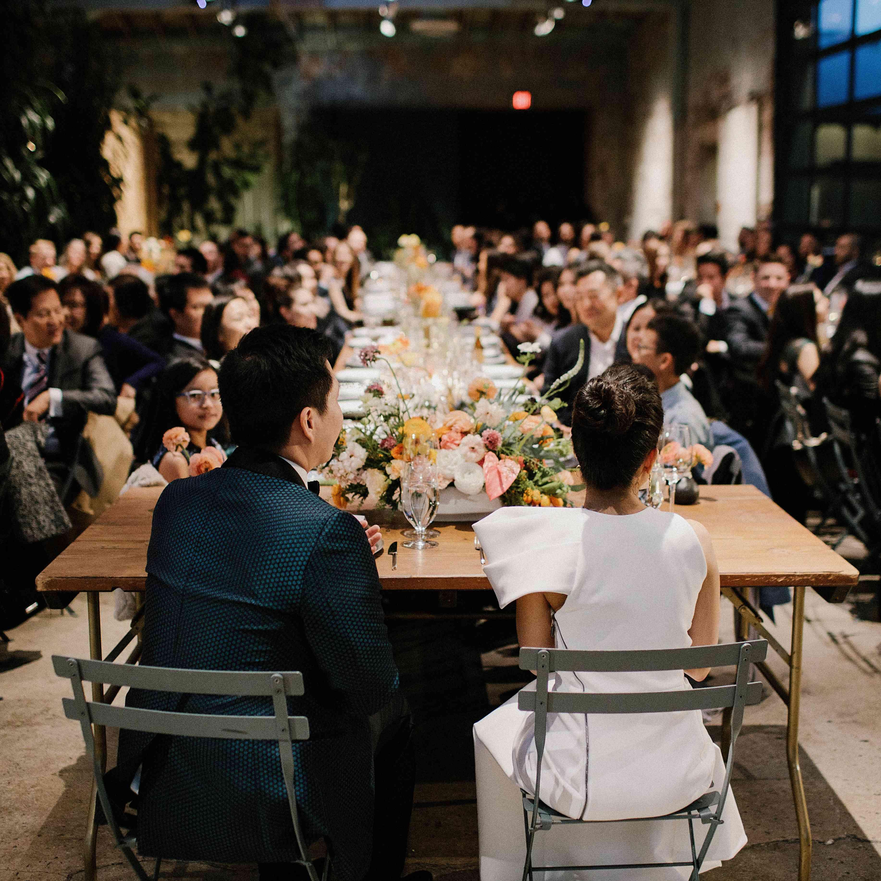 <p>Bride and groom at reception</p><br><br>