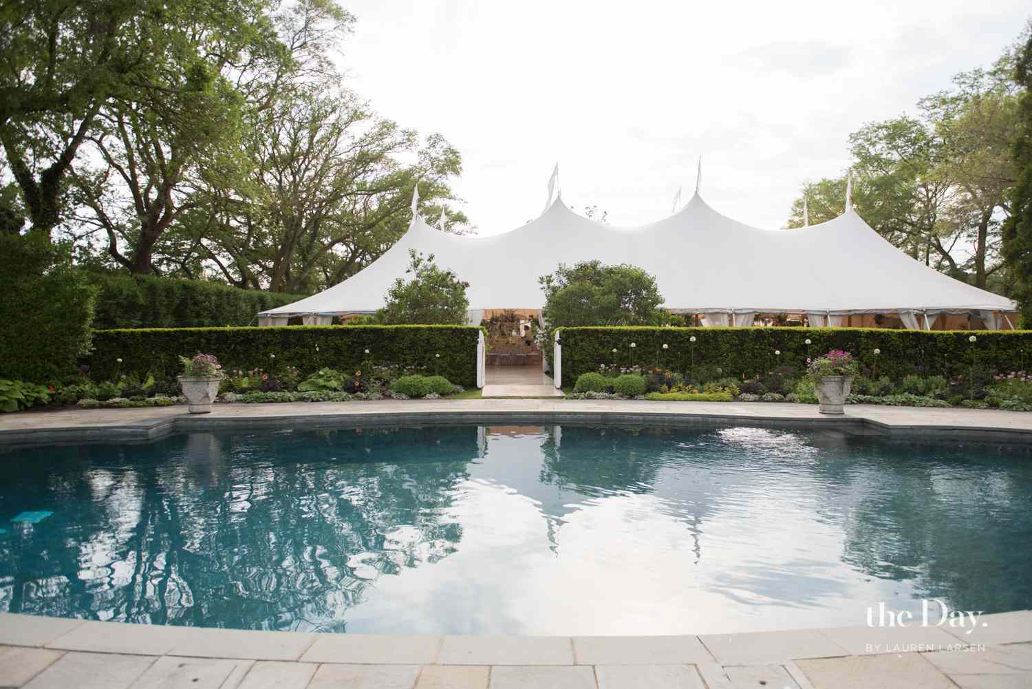 A swimming pool and tent