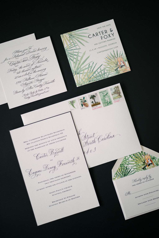 august wedding, invitation suite