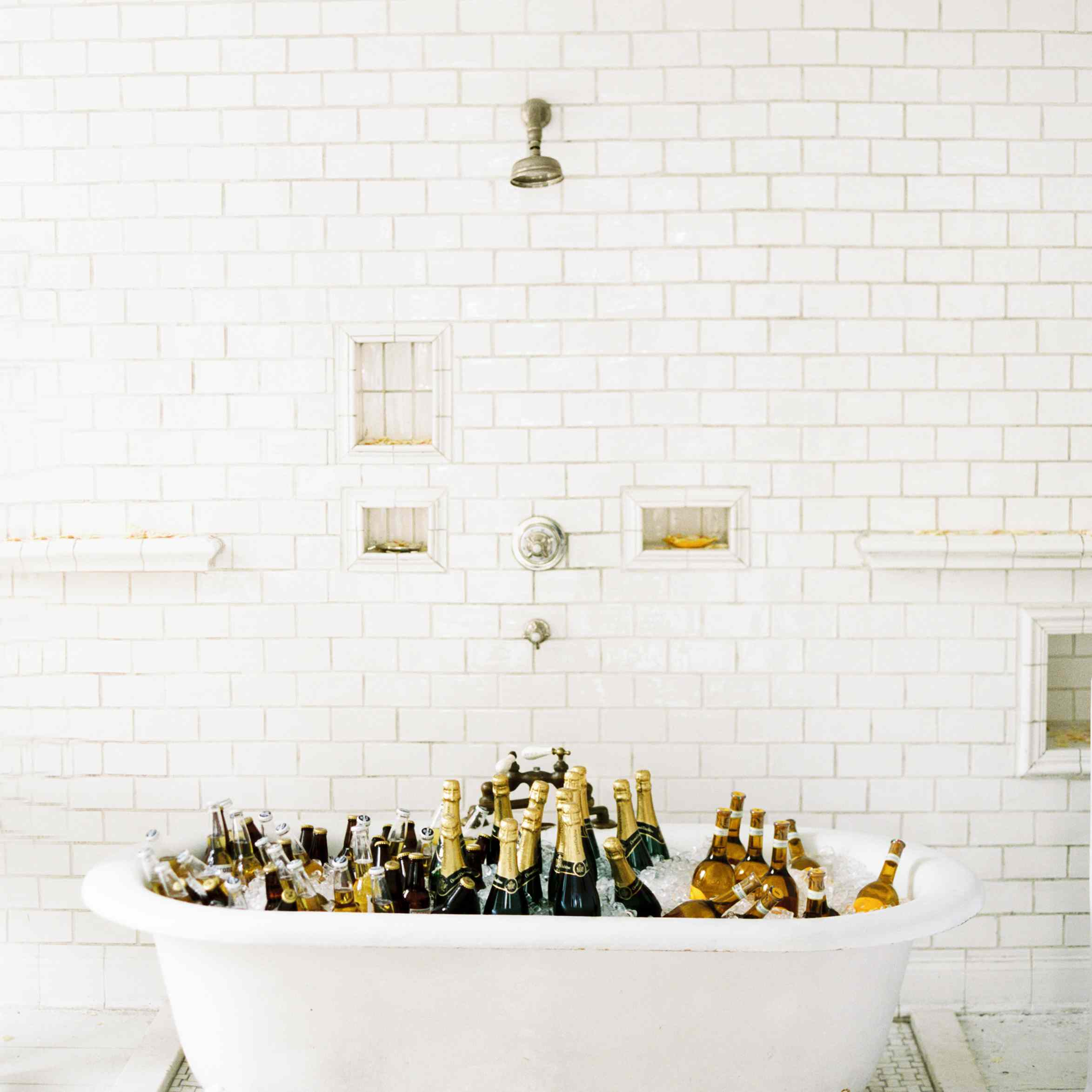 Bathtub filled with champagne