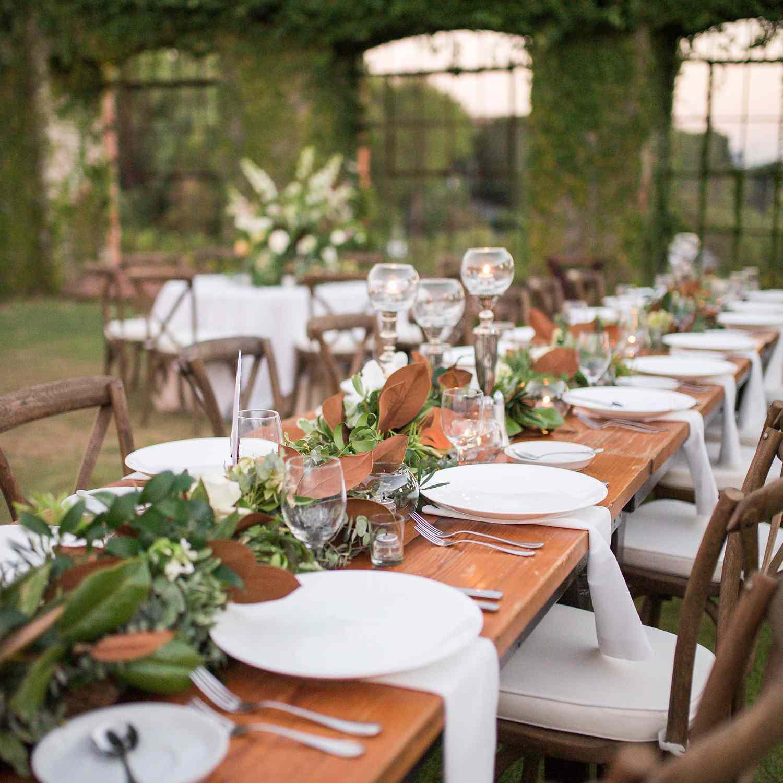 Wedding reception set table