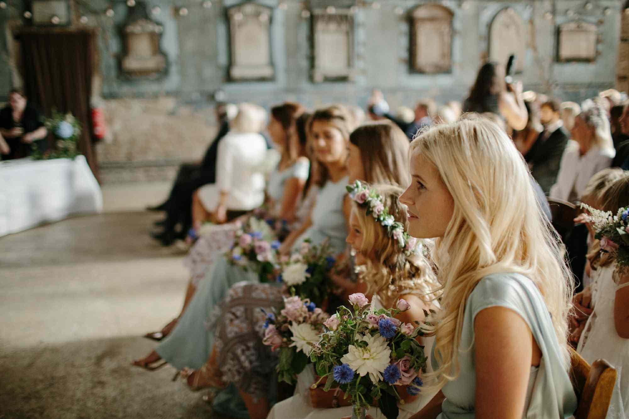 Bridesmaids at ceremony