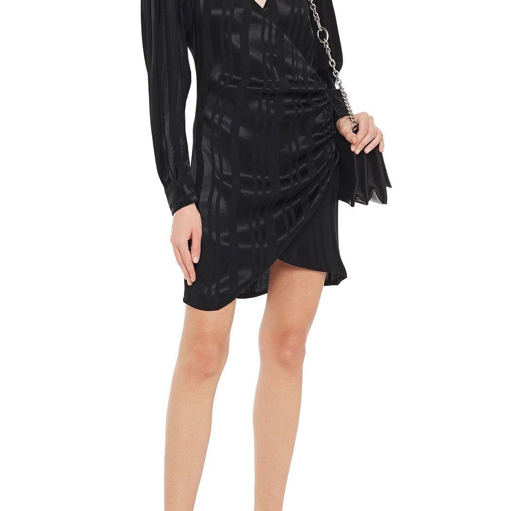 Anine Bing Penelope Striped Satin-Jacquard Mini Wrap Dress