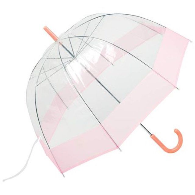 All Weather 42 Pink and Clear Dome Umbrella