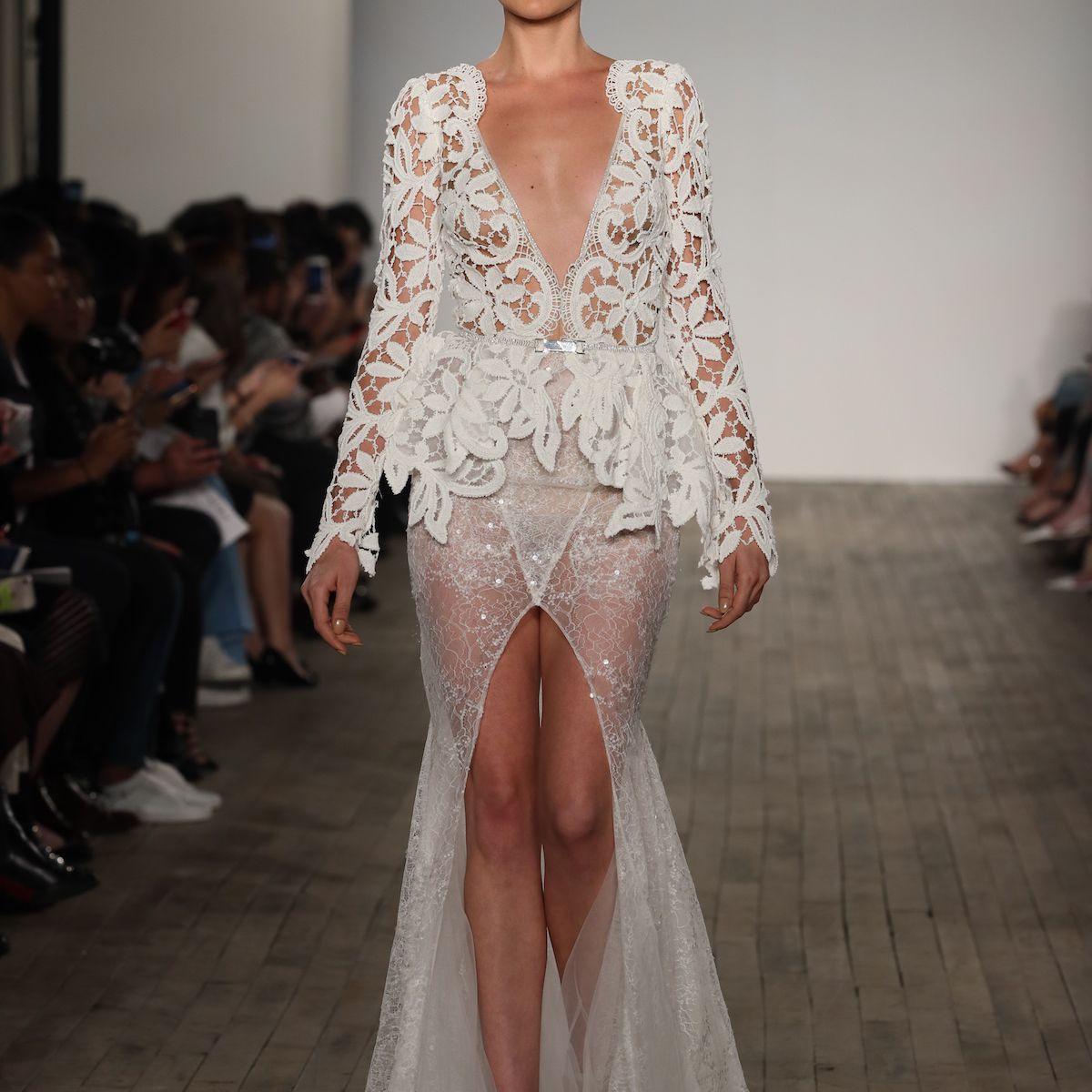 Model in crochet lace mermaid wedding dress