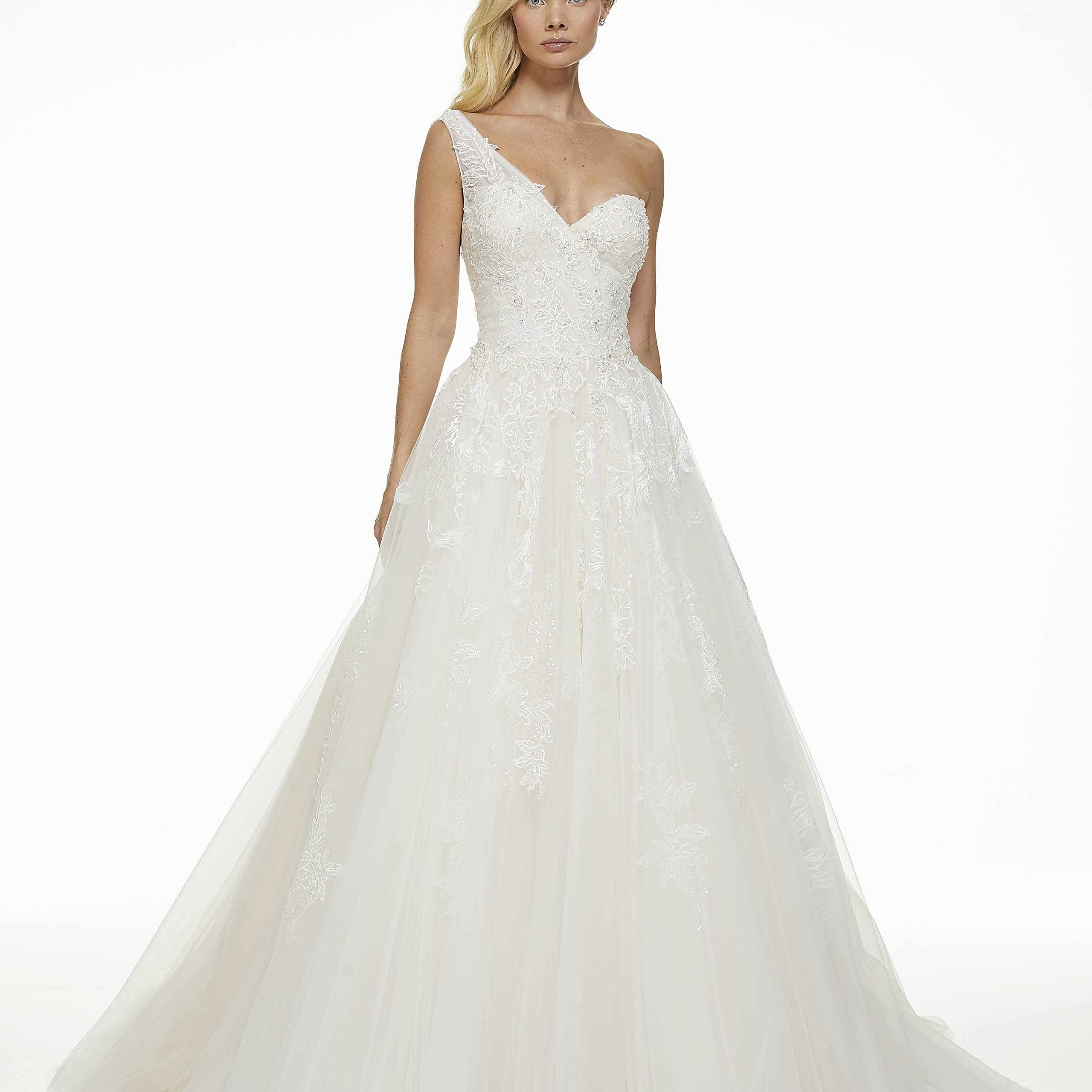 Model in one-shoulder tulle wedding ball gown
