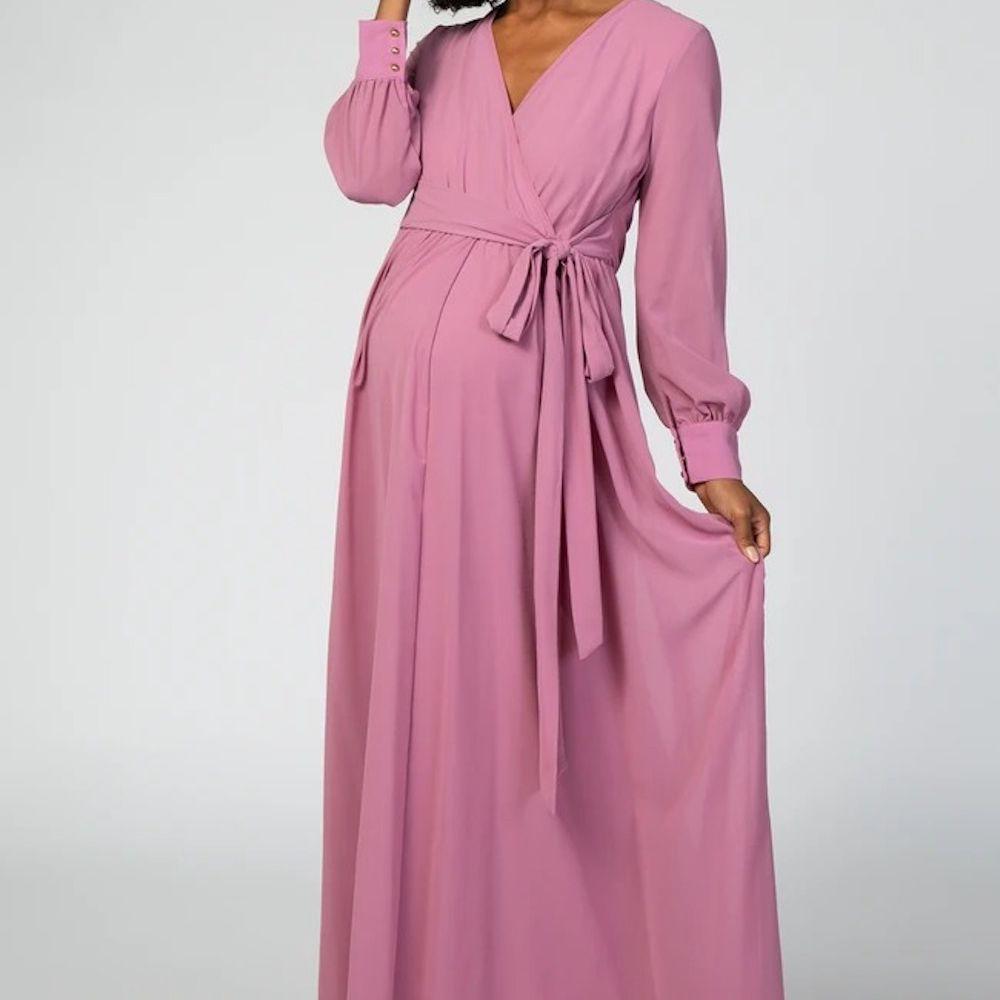 PinkBlush Lavender Chiffon Long Sleeve Maternity Maxi Dress