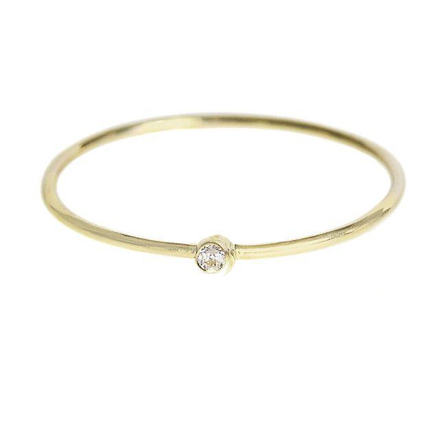 Jennifer Meyer Thin Diamond Yellow Gold Stacking Ring