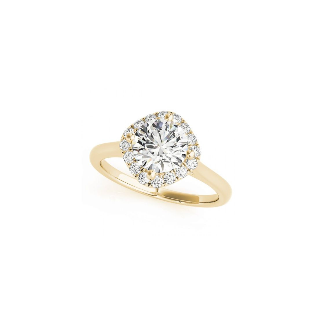 Diamond halo engagement ring with yellow gold band on a white background