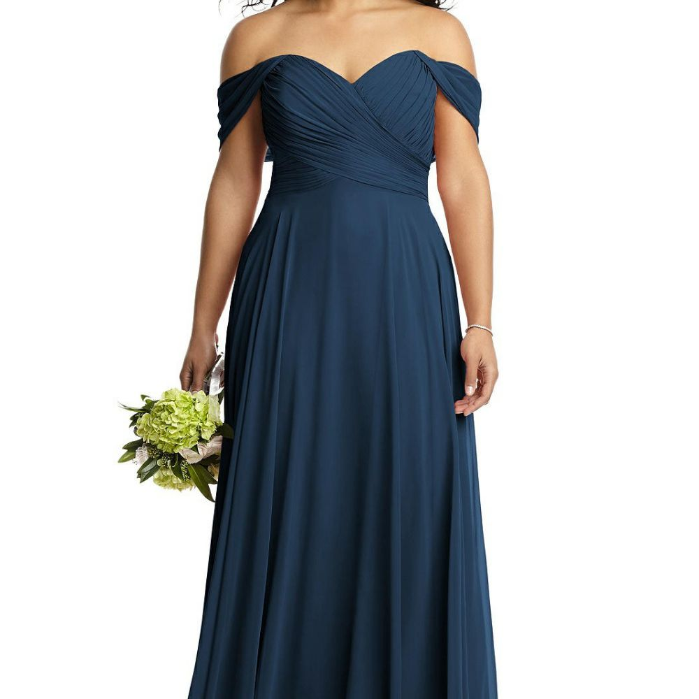 Model in ruched off-the-shoulder A-line blue gown