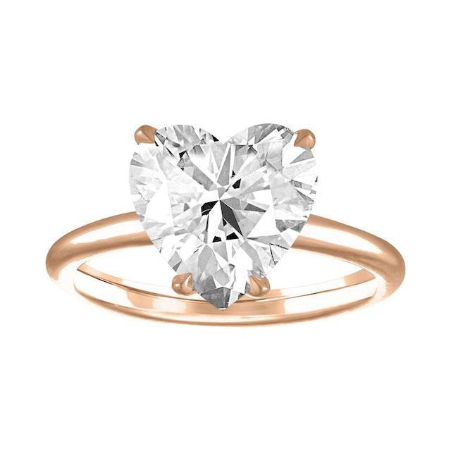 Stephanie Gottlieb Heart Shaped Solitaire Engagement Ring with Pave Scarf Detail
