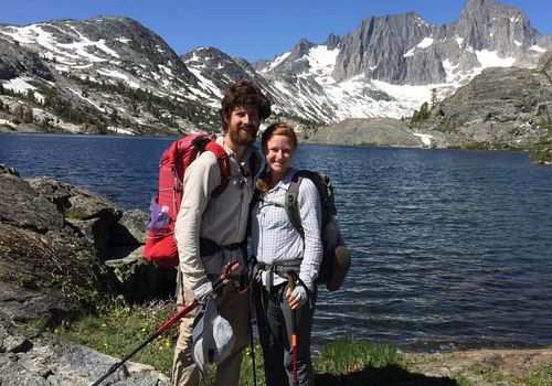 Married couple hiking Pacific Crest trail