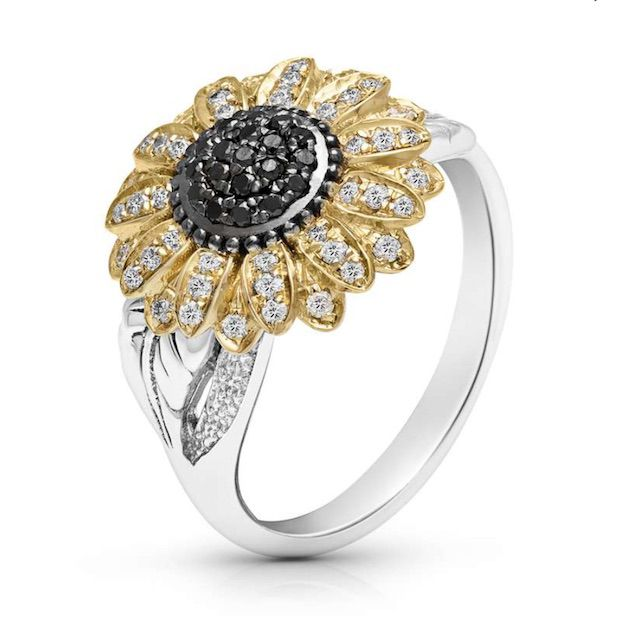 Camellia Diamonds Flower Engagement Ring Two Tone Gold Sunflower Ring with Natural Diamonds