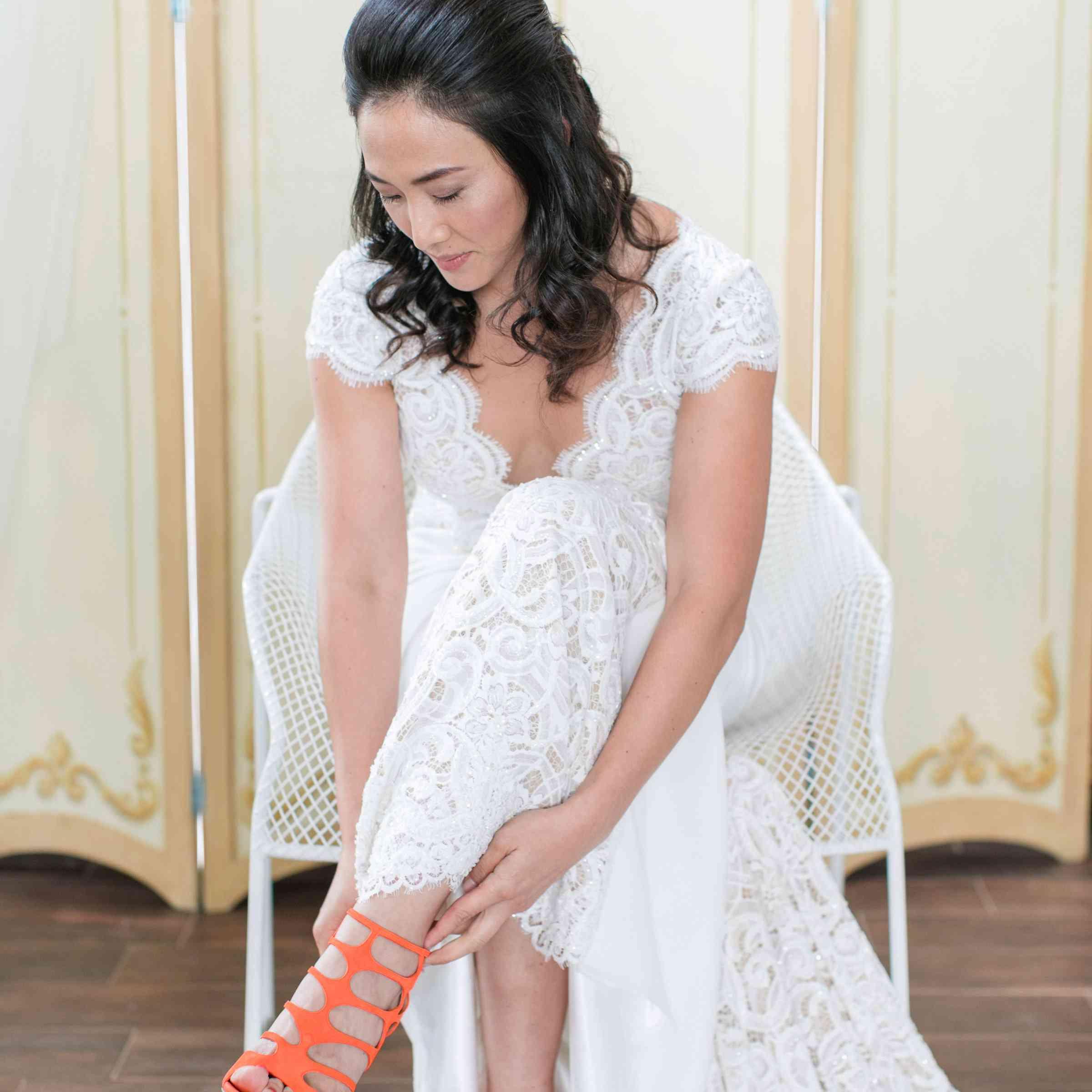 Jimmy Choo orange sandals