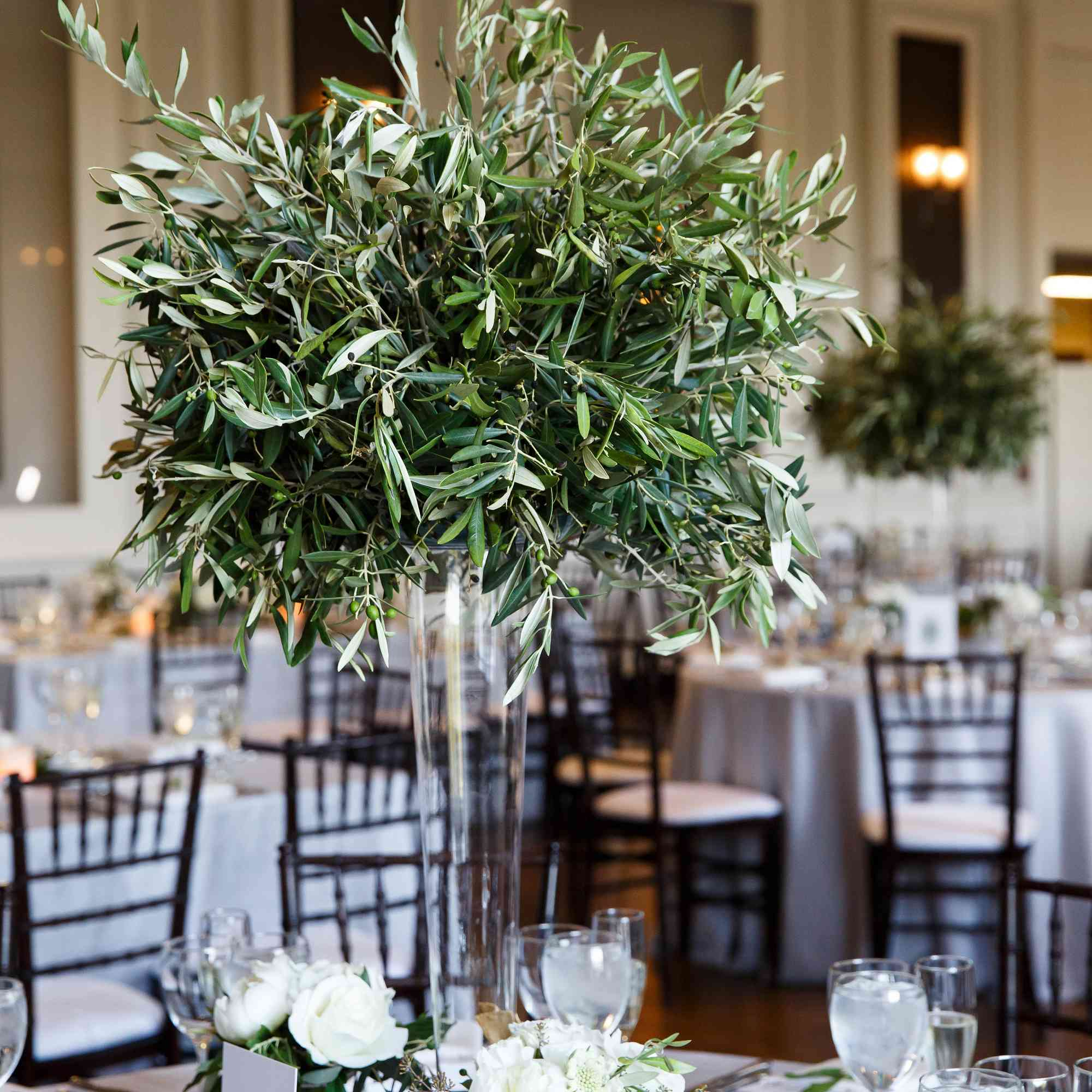 centerpiece with green branches