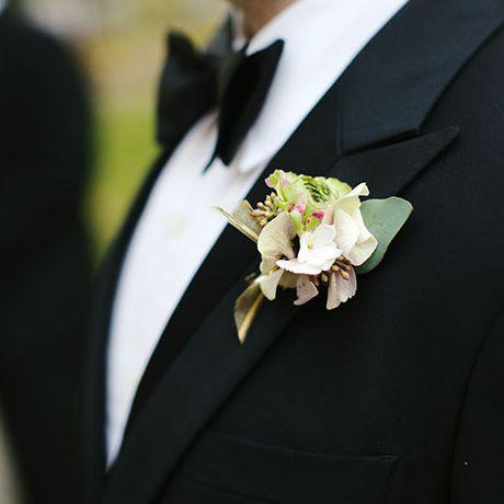 Mini wedding flowers boutonniere white with fern white buttonhole handmade