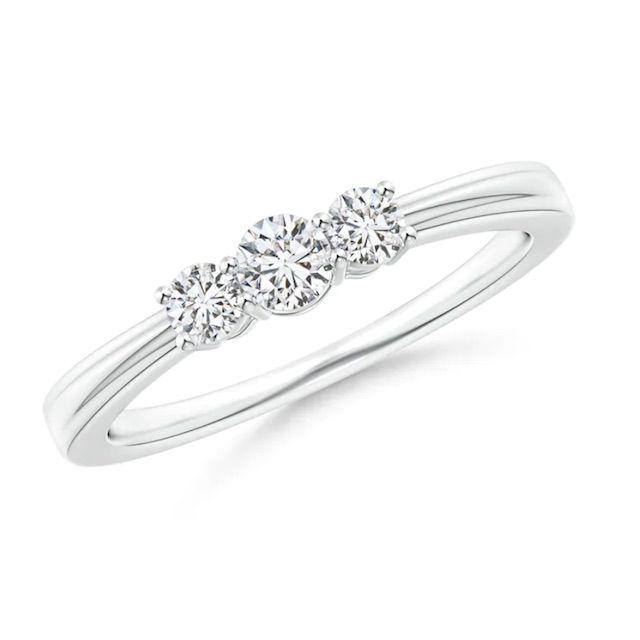 Angara Step-Edged Three Stone Diamond Tapered Ring