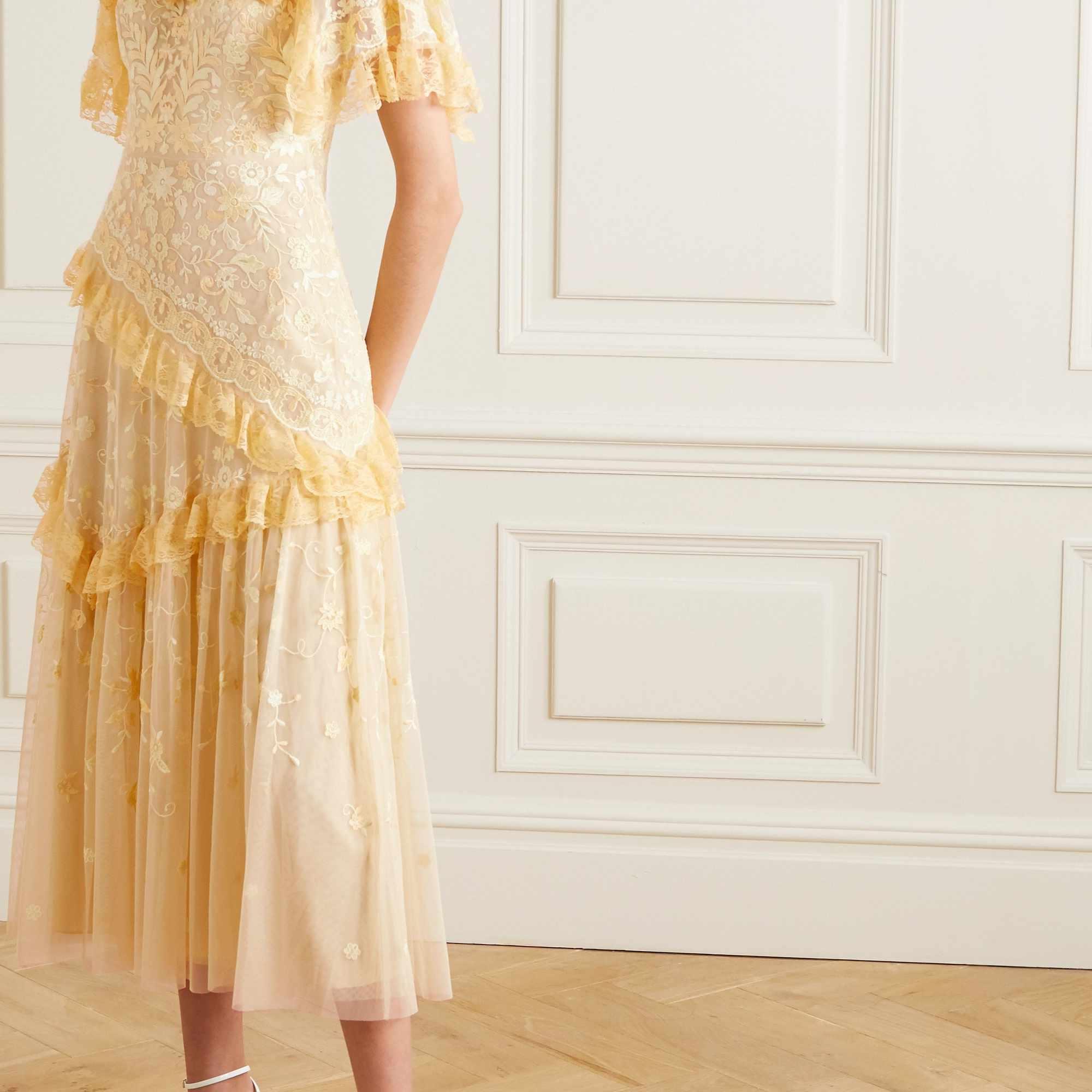 Needle & Thread x Jasmine Hemsley Earth Garden Lace-Trimmed Embroidered Tulle Midi Dress $475
