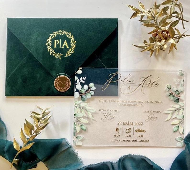 elegant acrylic velvet wedding invitation suite