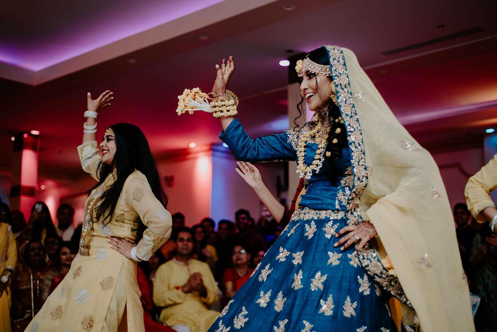 bride doing choreographed dance