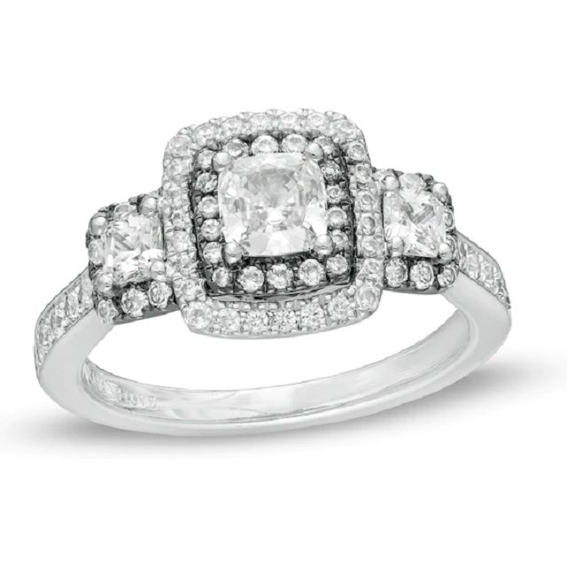 Vera Wang Love Collection 1.25-Carat Cushion-Cut Diamond Frame Engagement Ring in 14K White Gold With Black Rhodium