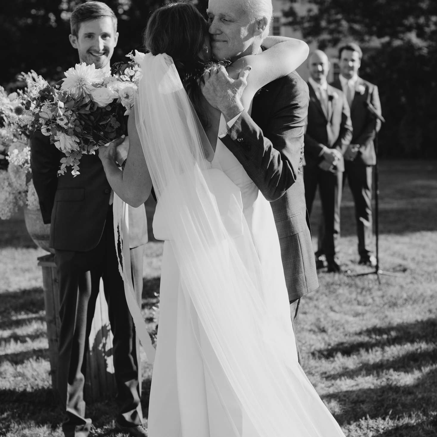 at-home rustic massachusetts wedding, father hugging bride ceremony