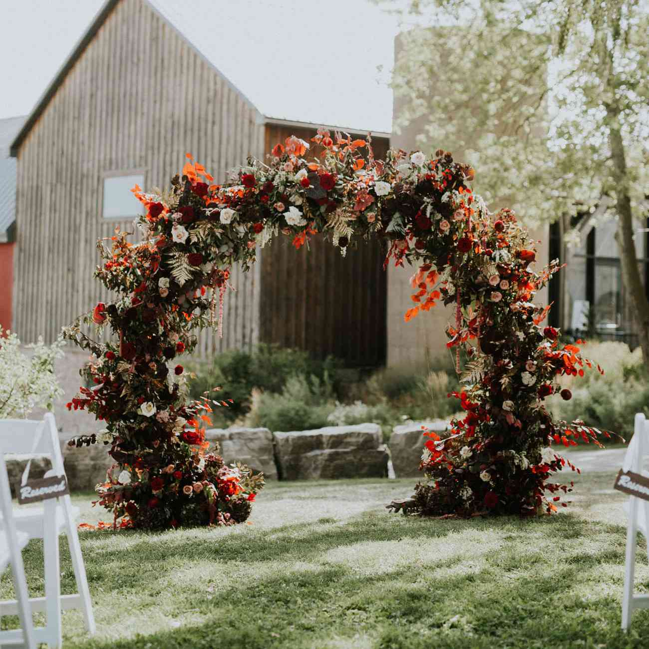 Colorful floral arch