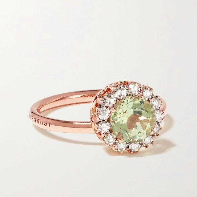 Selim Mouzannar Beirut rose gold, tourmaline and diamond ring