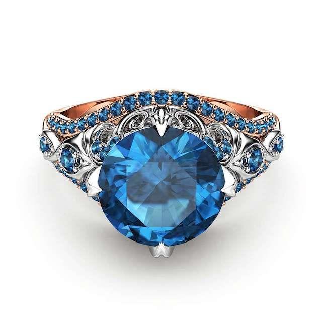 Camellia Blue Diamond Ring