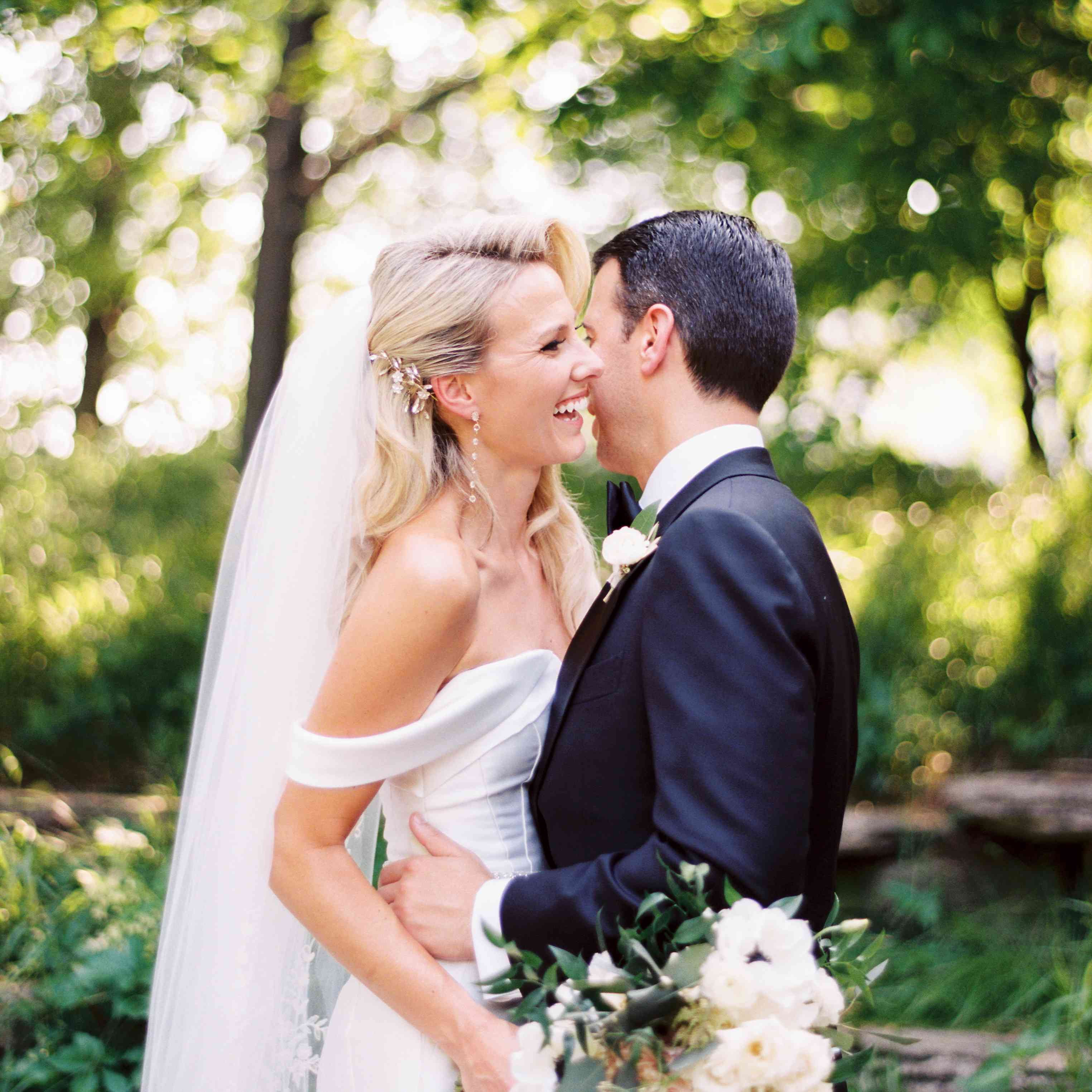 <p>Bride and groom in embrace</p><br><br>