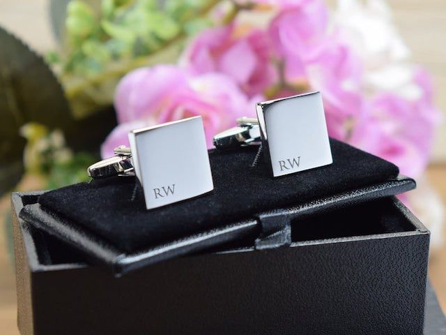 Brother of Bride Violet Purple Wedding Cufflinks with Black Pouch