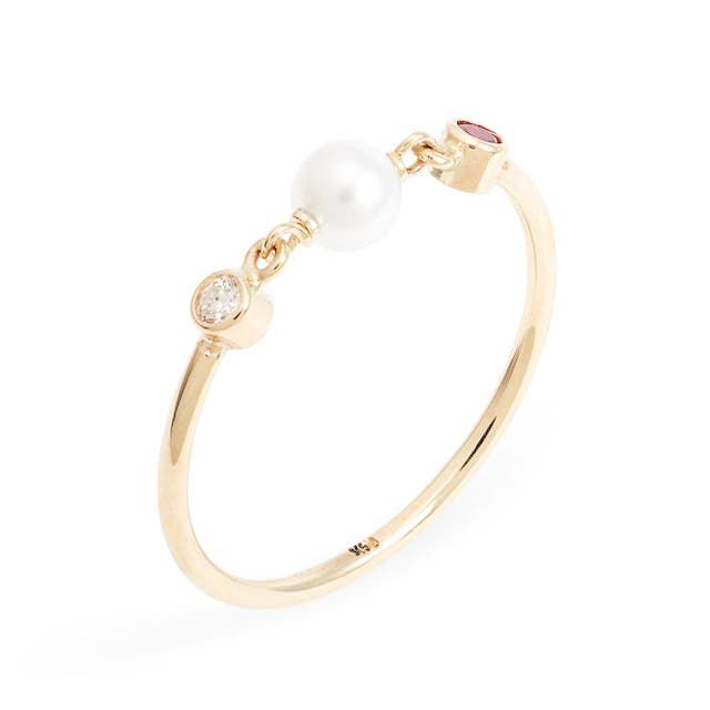 pearl, diamond, and ruby ring with gold band