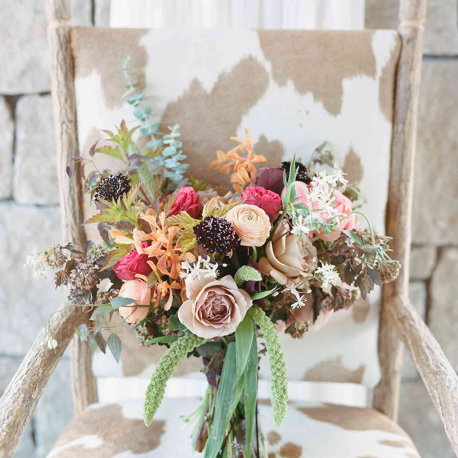Colorful floral bouquet for a fall wedding