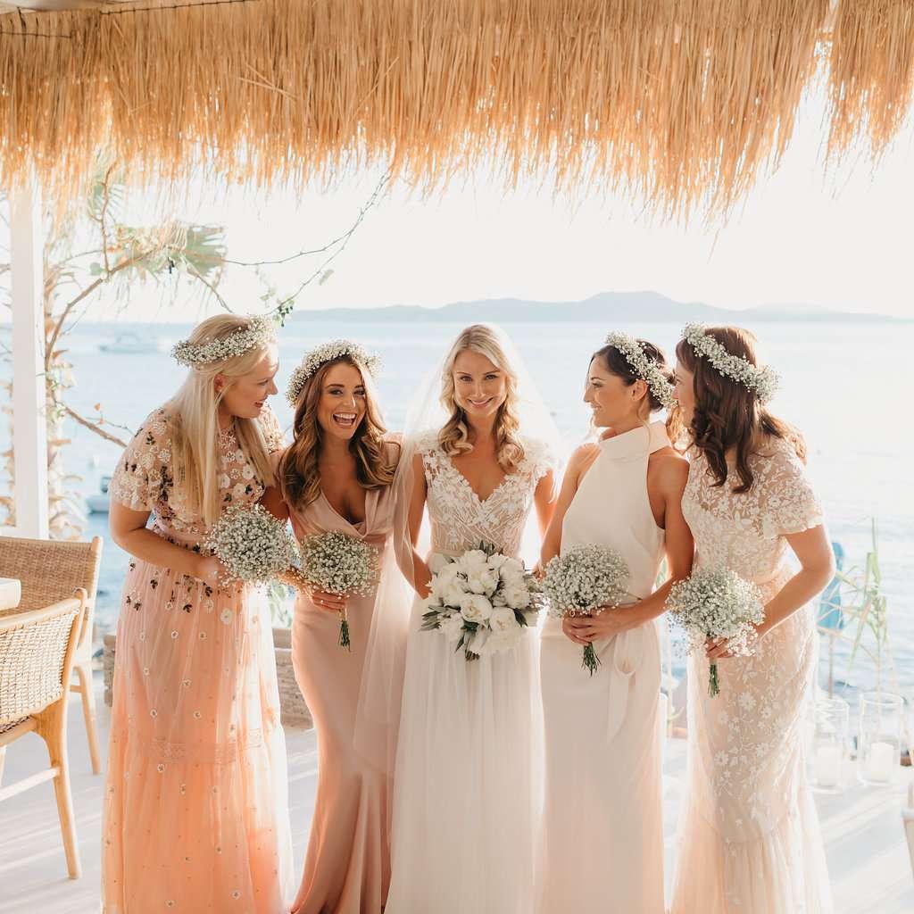 pink mismatched bridesmaids dresses