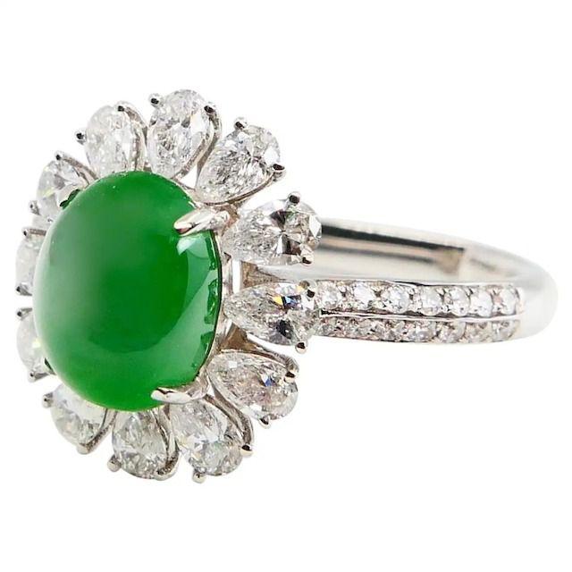 1st Dibs Jadeite Jade and Diamond Cocktail Ring