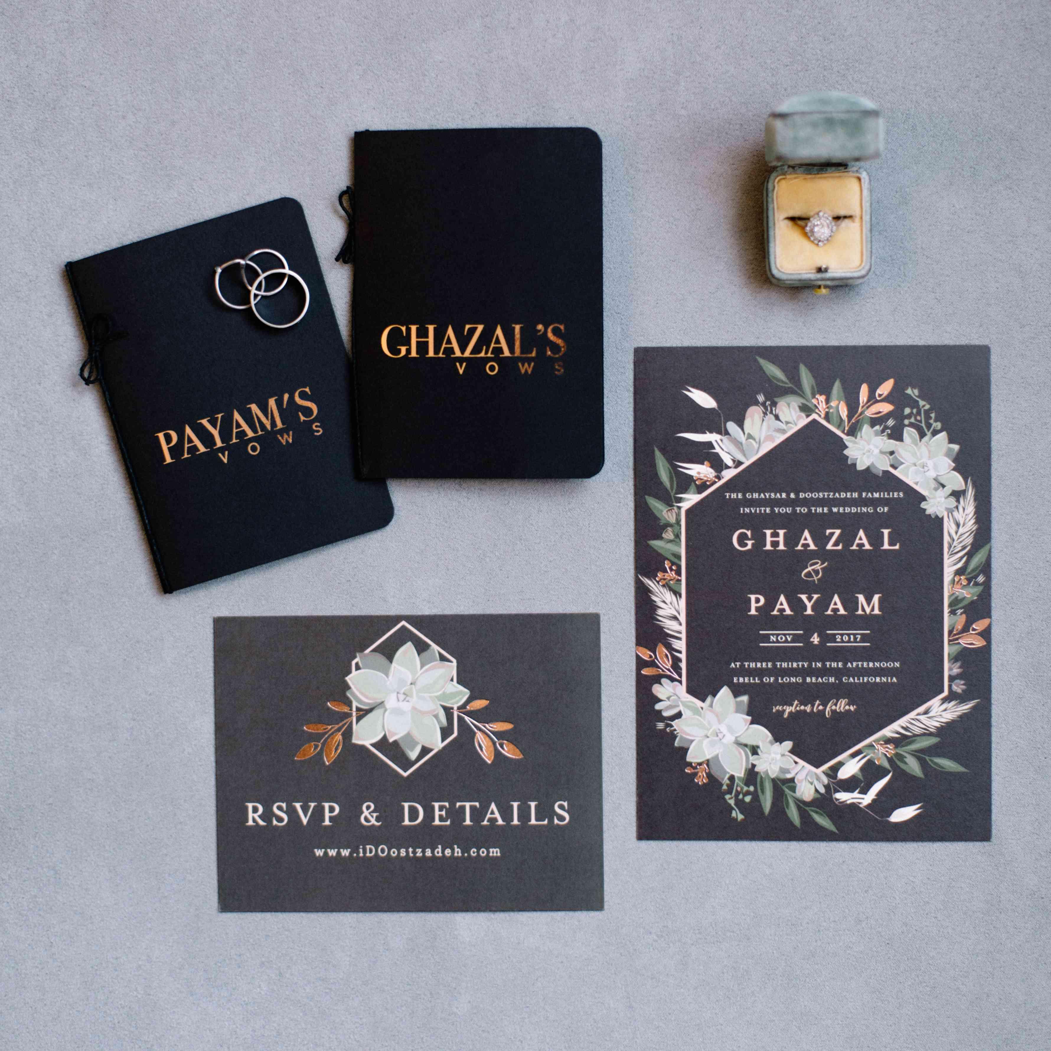vow books invitation suite engagement ring
