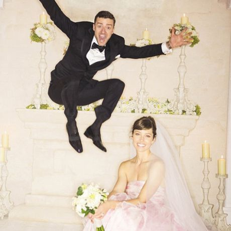 Jessica BielMany were shocked Biel didn't wear white to marry Justin Timberlake in Puglia, Italy in October 2012, but the actress stunned in a voluminous, petal-pink Giambattista Valli wedding dress . The custom-made creation echoed a different design from Valli's spring 2012 haute couture collection. Biel made the look bridal by swapping the runway's red color for the more feminine hue and toning down the dramatic silhouette — her Audrey Hepburn-esque hairstyle and flowing veil helped as well