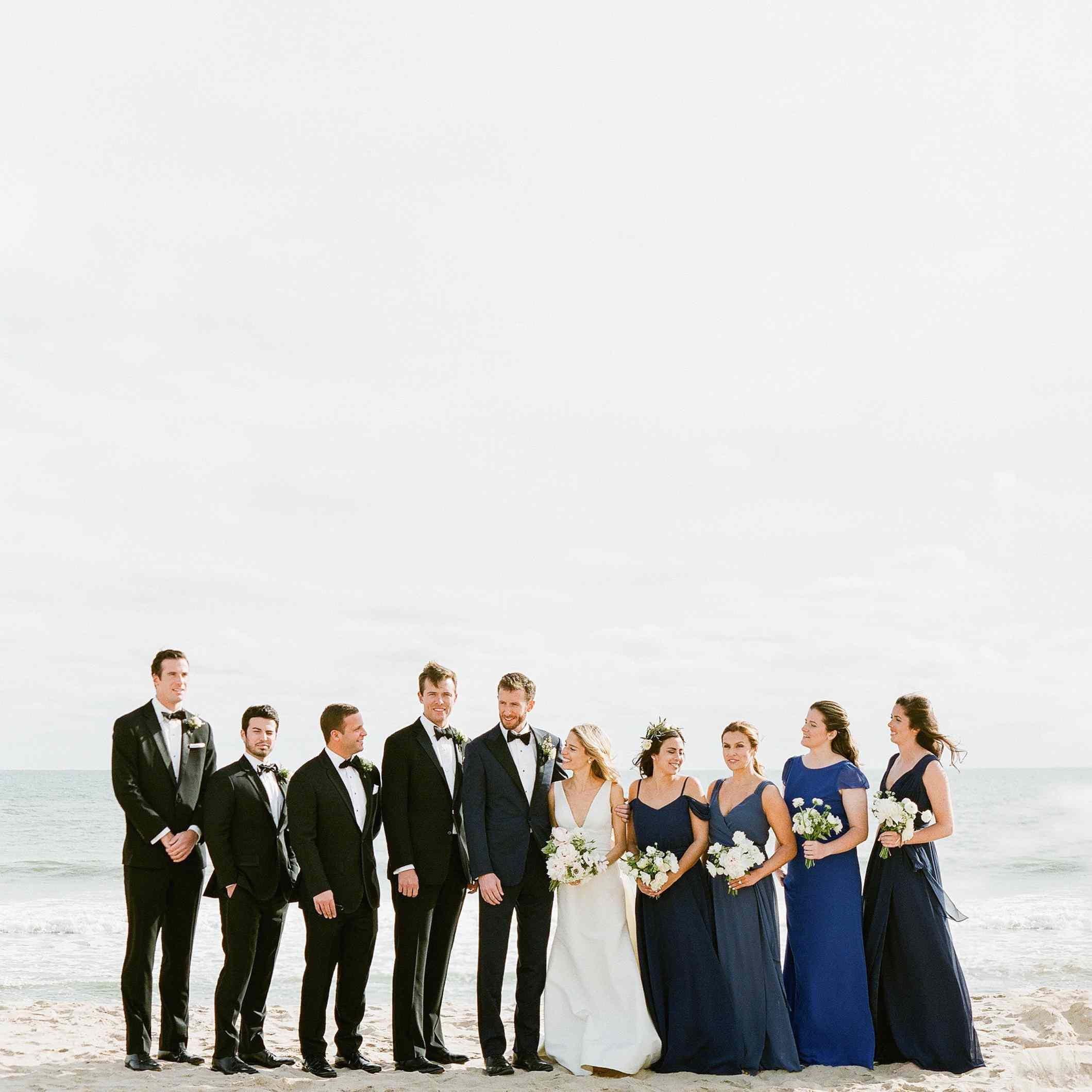 <p>bridal party photos on beach</p><br><br>