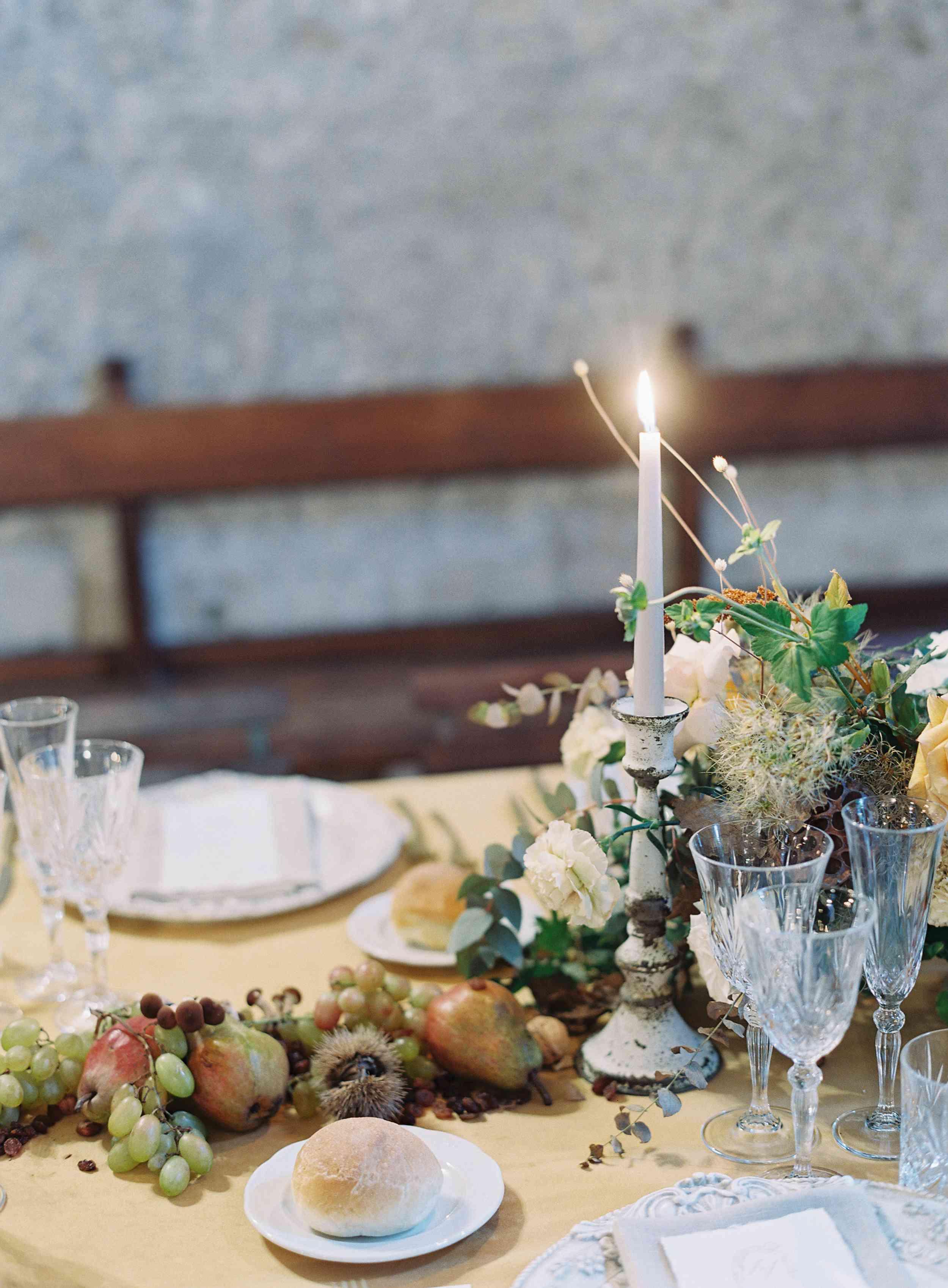 classic la badia italian wedding, fruit table runner reception