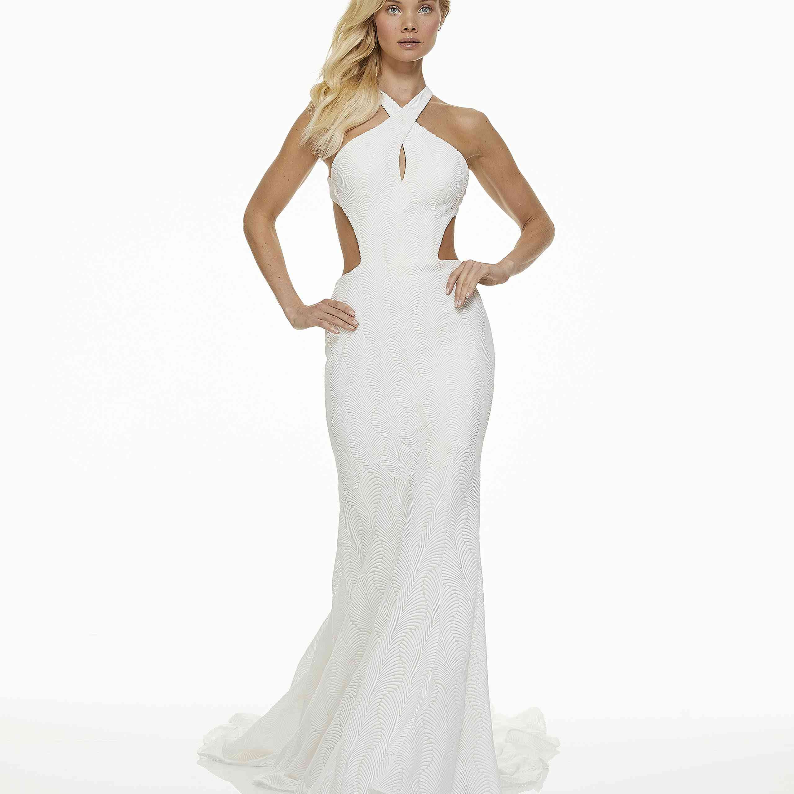 Model in halter fit-and-flare wedding dress