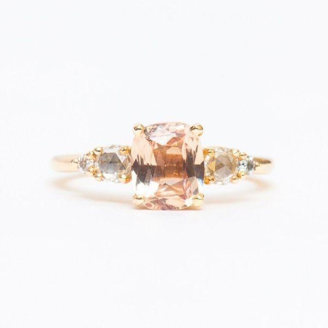 Porter Gulch Peach Cushion Sapphire Isa Ring