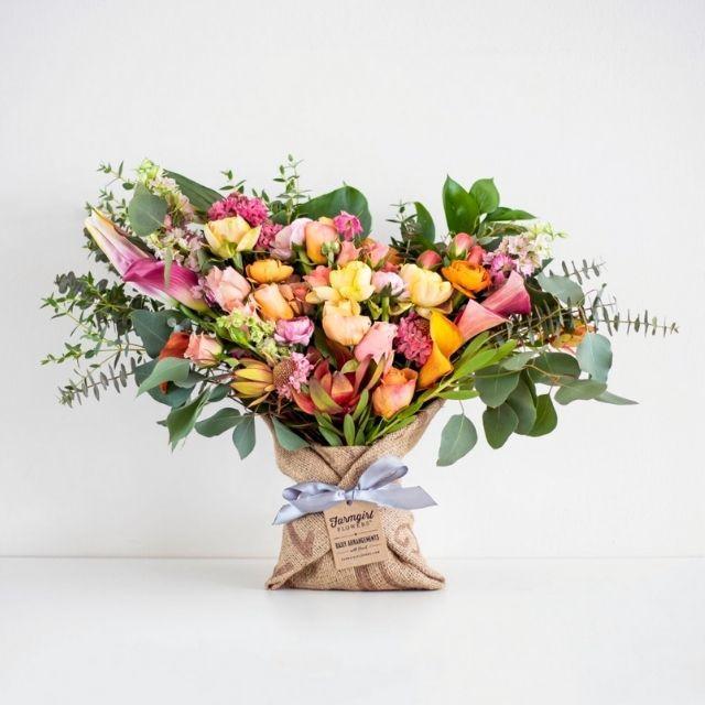 Farm Girl Flowers Big Love Burlap Wrapped Bouquet
