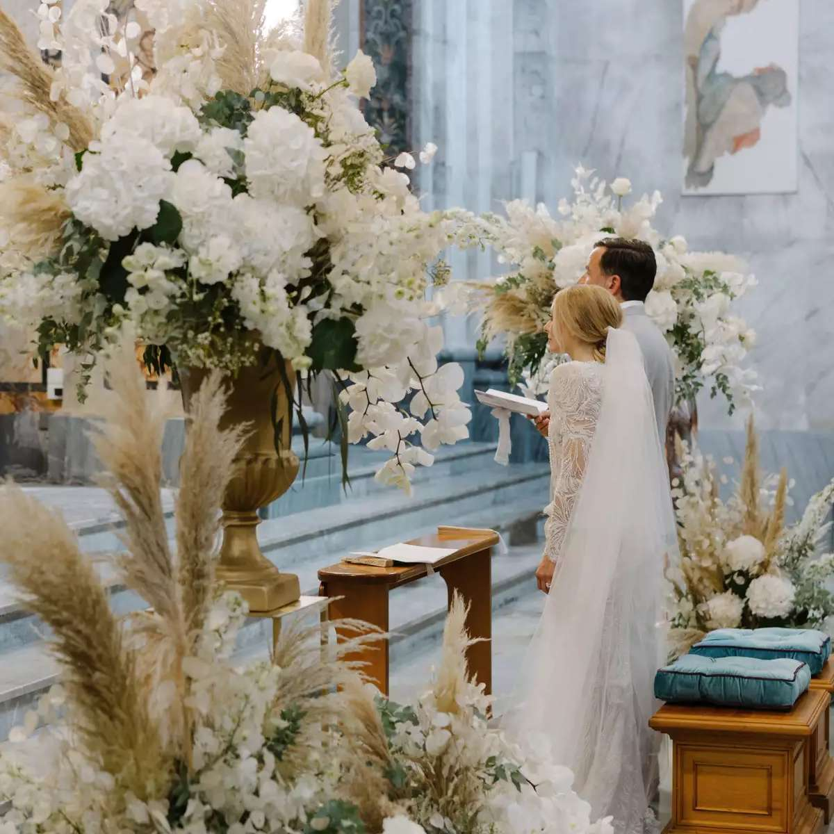 church with white florals