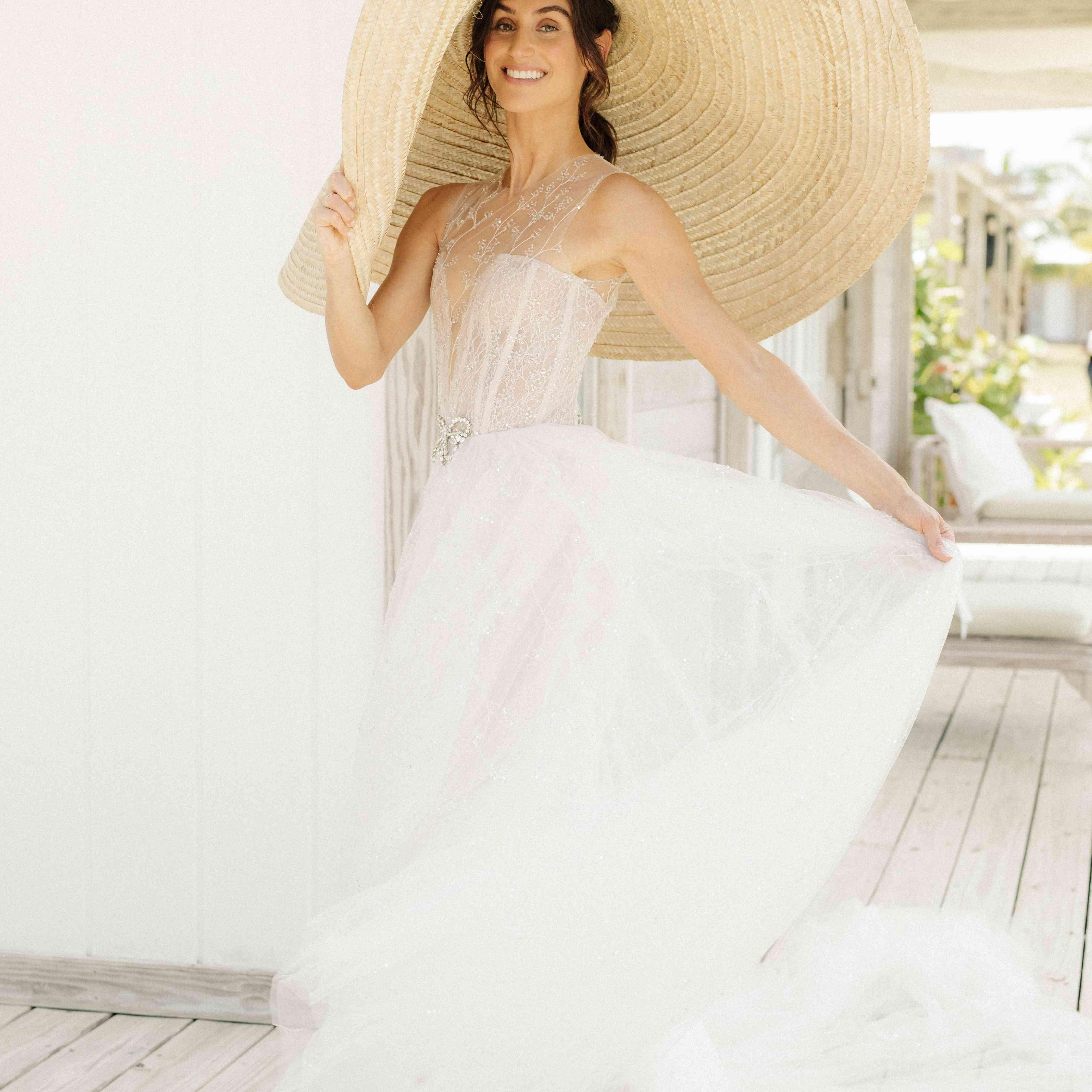 bride in hat