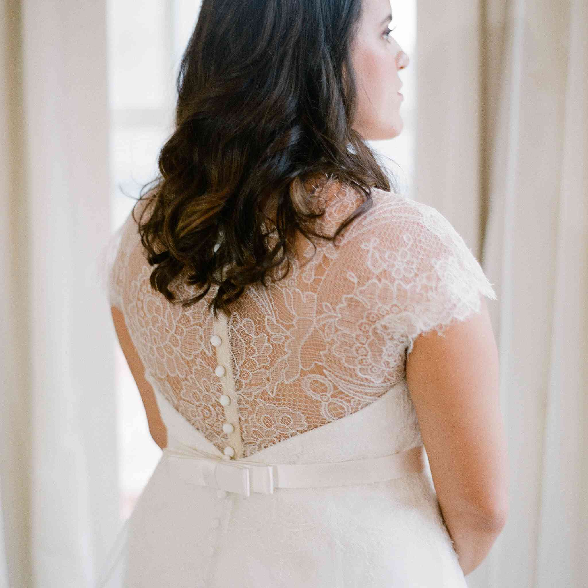 Back of bride's wedding gown