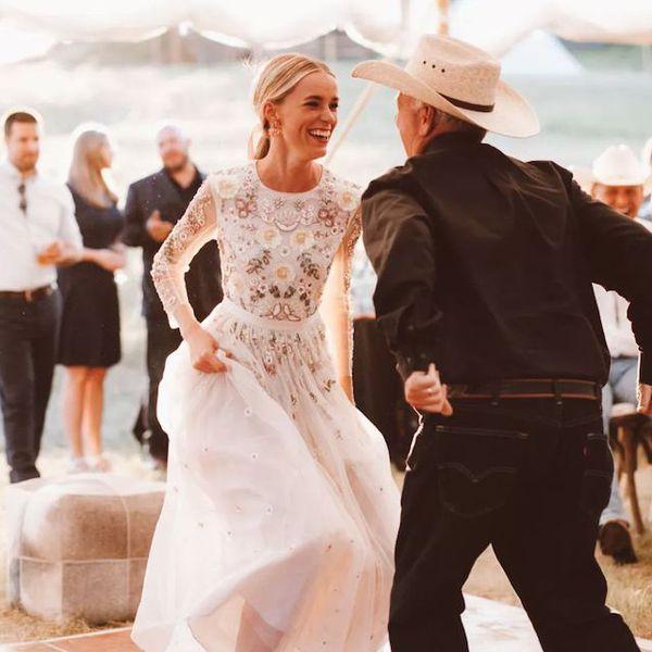 Country wedding bride dancing