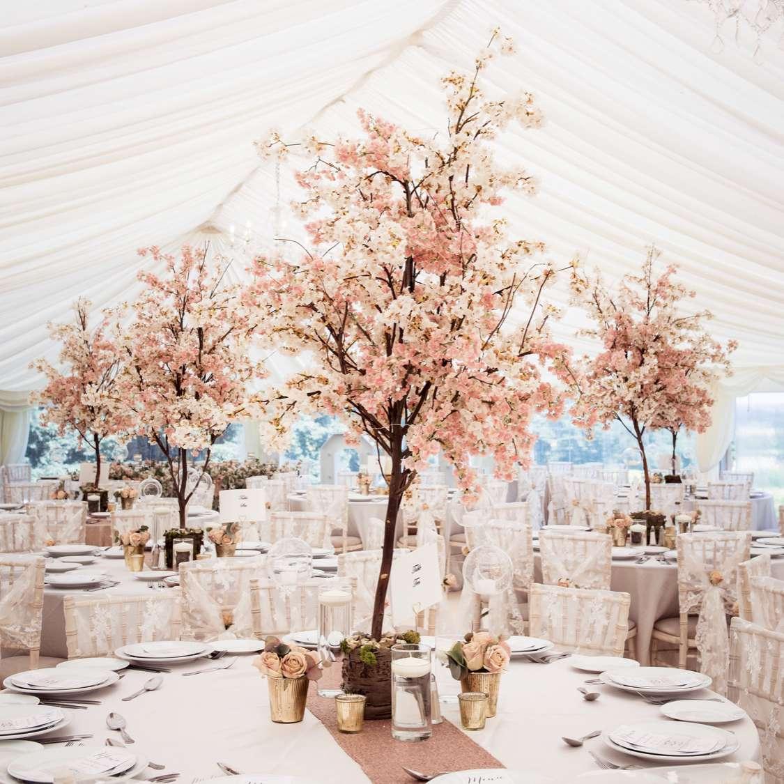 pink blossom tree centerpiece