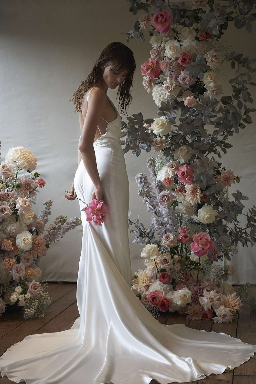 Model in strappy wedding dress