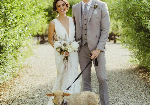 <p>Bride and Groom with Lamb</p>